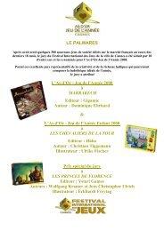 le palmares - Festival International des Jeux