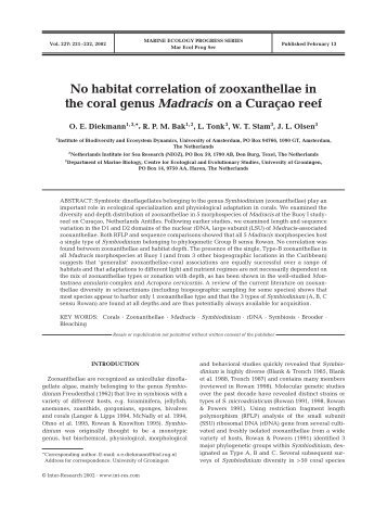 No habitat correlation of zooxanthellae in the coral ... - Inter Research