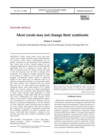 Most corals may not change their symbionts