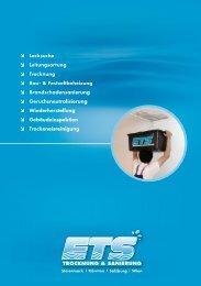 Lecksuche Leitungsortung Trocknung Bau ... - ETS Egger GmbH