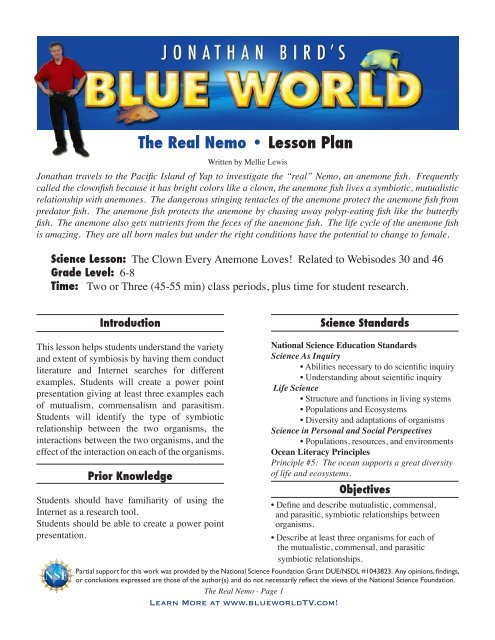 The Real Nemo • Lesson Plan - Jonathan Bird's Blue World