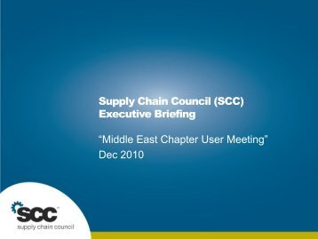 SCC Executive Overview - Supply Chain Council
