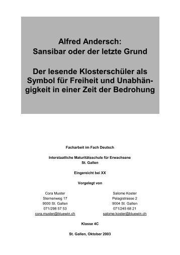 Alfred Andersch: Sansibar oder der letzte Grund ... - Looser Roman