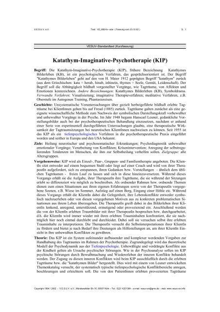 Katathym-Imaginative-Psychotherapie (KIP) - Netzwerk ...