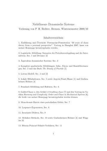 Nichtlineare Dynamische Systeme - Institut für Theoretische Physik