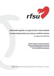 Omhändertagande av unga kvinnor med vestibulit - RFSU
