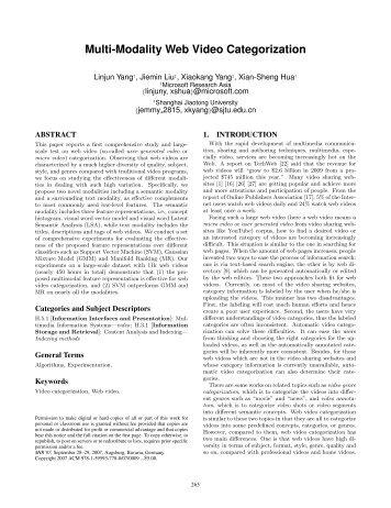 Multi-Modality Web Video Categorization - ISMLL