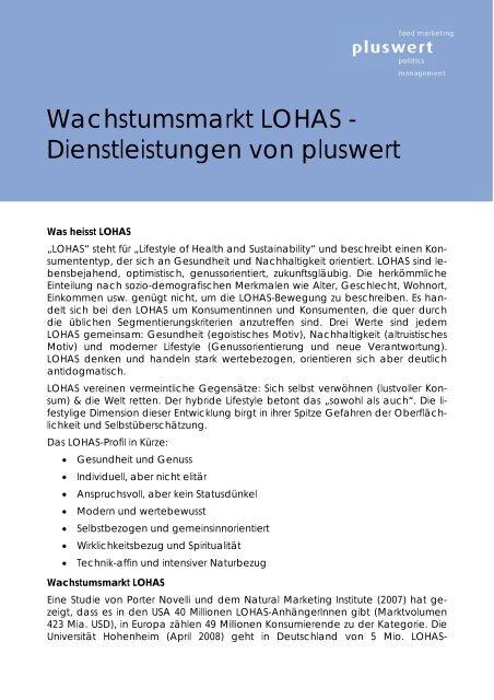 Wachstumsmarkt LOHAS - Dienstleistungen von pluswert