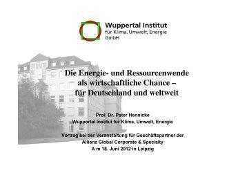 Die Energiewende als wirtschaftliche Chance - für Deutschland und