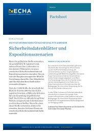 Sicherheitsdatenblätter und Expositionsszenarien - ECHA - Europa