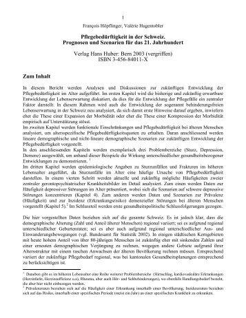 Pflegebedürftigkeit in der Schweiz. Prognosen ... - hoepflinger.com