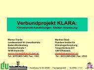 Verbundprojekt KLARA: Klimawandel - Auswirkungen, Risiken ...