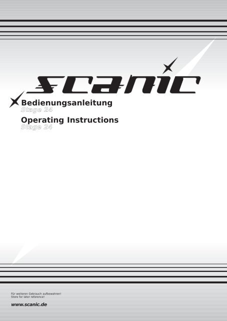 Bedienungsanleitung Operating Instructions - Scanic