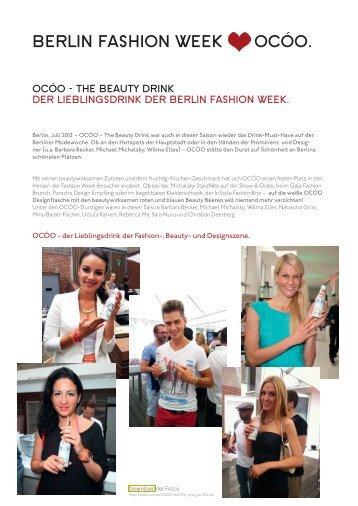 the beauty drink der lieblingsdrink der berlin fashion week. - ocóo