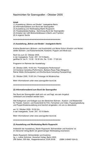 Nachrichten für Szenografen - Oktober 2005 - Bund der Szenografen