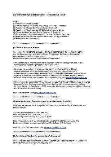 Nachrichten für Szenografen - November 2005 - Bund der ...