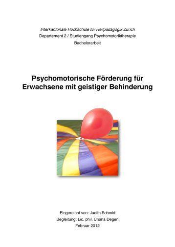 Psychomotorische Förderung für Erwachsene mit geistiger ... - BSCW