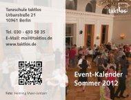 Event-Kalender Sommer 201 2 - Taktlos