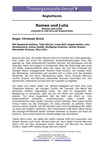 Begleittexte Romeo und Julia - Theatergastspiele Kempf GmbH
