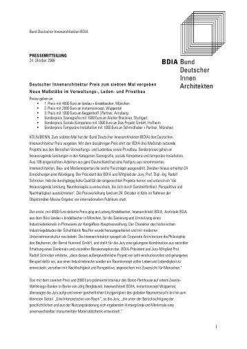 Bund Deutscher Innenarchitekten bdia auslobung deutscher innenarchitektur preis 2014 bund