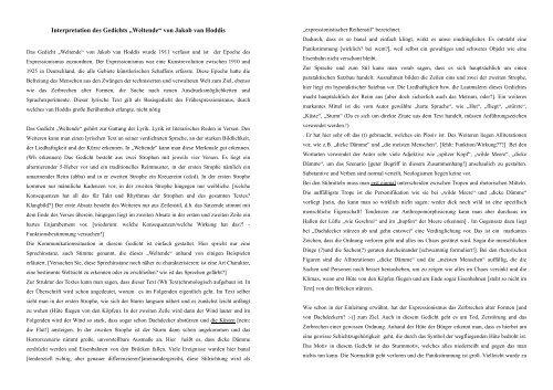 Interpretation Des Gedichts Weltende Von Jakob Van Hoddis