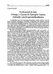 Ortega y Gasset és Spengler hatása Németh László gondolkodására