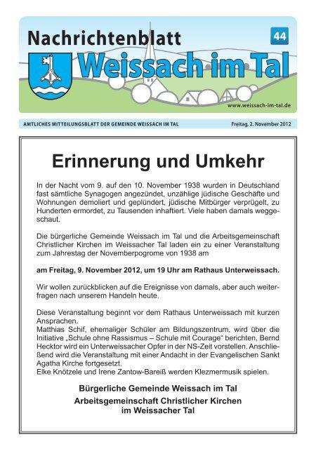 Unsere nächste Sonderseite Gemeinde Weissach im Tal
