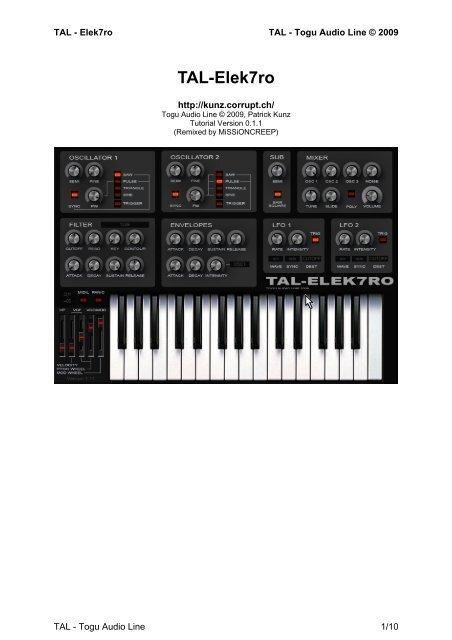 TAL-Elek7ro User Manual OSCILLATOR 1 and 2 - Togu Audio Line