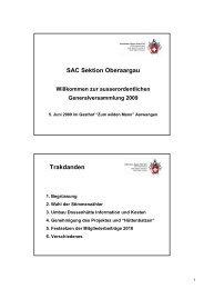 Beiträge 2009 Beiträge 2010 - SAC Sektion Oberaargau