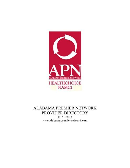 Table of Contents - Alabama Premier Network