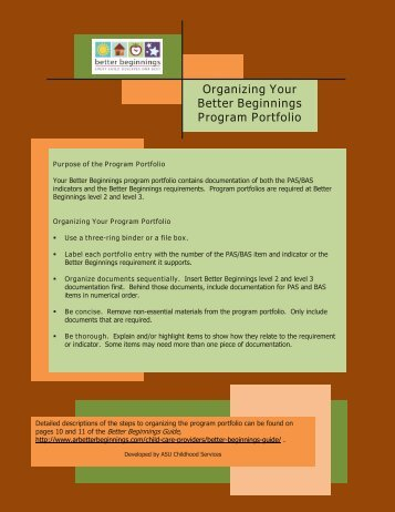 Organizing Your Better Beginnings Program Portfolio