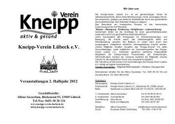 aktuelles Programmheft - Kneipp-Verein Lübeck eV