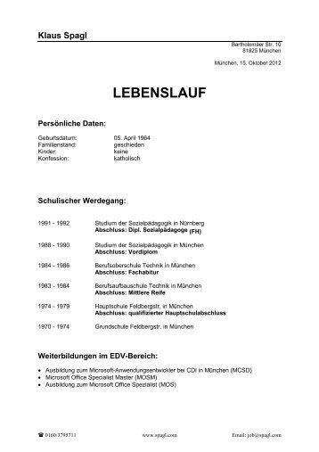 Lebenslauf - Klaus Strazicky