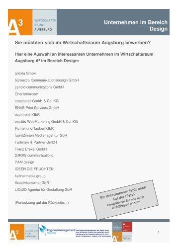 Design - im Wirtschaftsraum Augsburg.