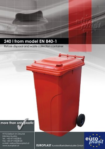 240 l from model EN 840-1 - Europlast