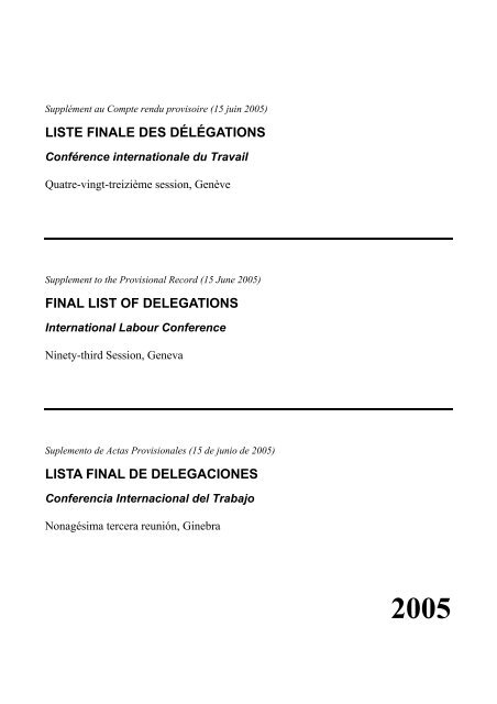 Final List Of Delegations International Labour Organization
