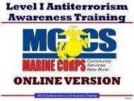 MCCS Antiterrorism Level I Awareness Training - MCCS New River