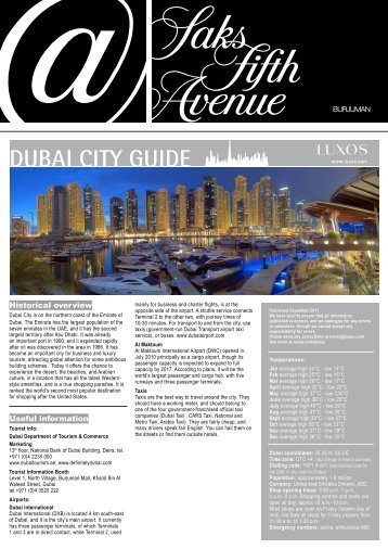 DUBAI CITY GUIDE - Luxos