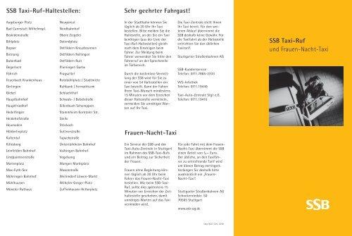 SSB Taxi-Ruf und Frauen-Nacht-Taxi Sehr geehrter Fahrgast ...