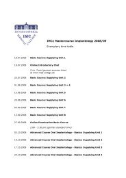 IMC® Mastercourse Implantology 2008/09 Exemplary time table