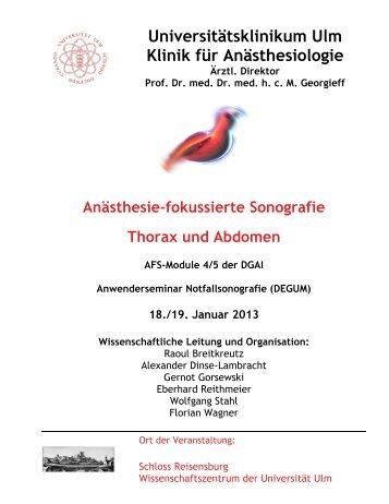 Programm Modul 5 – Thorakoabdominelle Sonografie