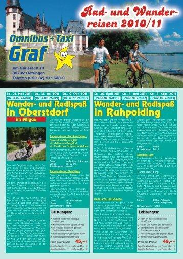 Rad- und Wander- reisen 2010/11 - Omnibus und Taxi Graf GmbH