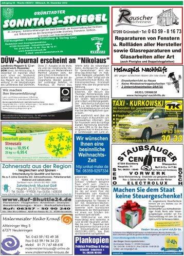 TAXI - KURKOWSKI Plankopien - GRÜNSTADTER Sonntags-Spiegel