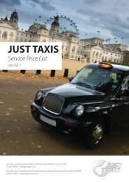 JUST TAXIS Service Price List version 1