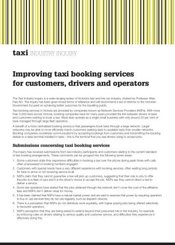 Improving taxi booking services for customers, drivers and