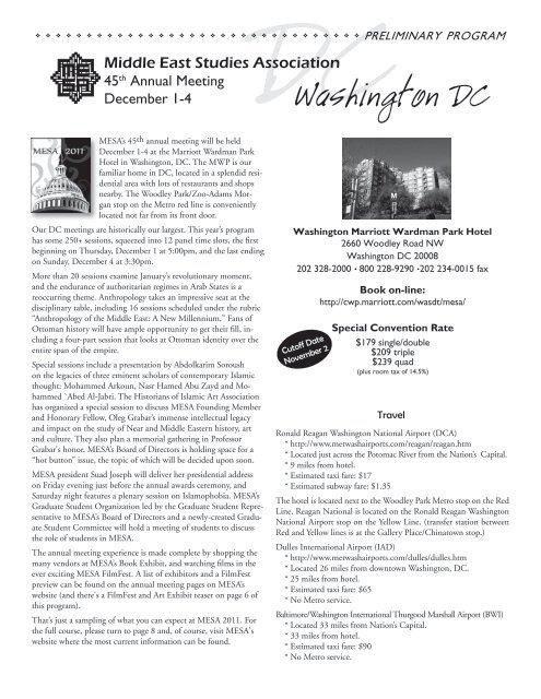 Washington DC - Middle East Studies Association - University of ...