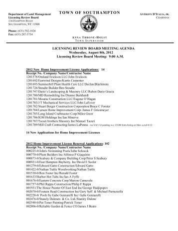 Licensing Review Board Agenda - Town of Southampton, NY