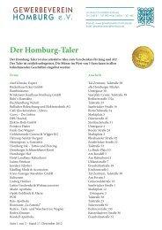 Der Homburg-Taler - Gewerbeverein Homburg eV