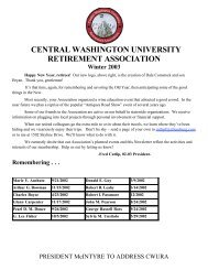 CENTRAL WASHINGTON UNIVERSITY RETIREMENT ASSOCIATION