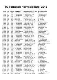 TC Tornesch Heimspielliste 2012 - Tennis Club Tornesch